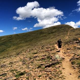 Myles hiking Colorado's Mt. Eva at 13,000 ft